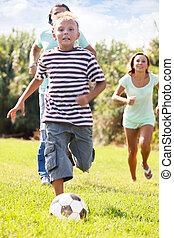 男の子, 親, サッカー, 遊び