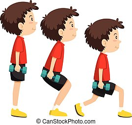 男の子, 訓練, セット, 練習, 重量