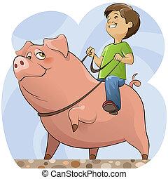 男の子, 豚