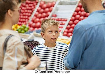 男の子, 買い物, スーパーマーケット, 親