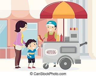 男の子, 買い物, stickman, 通り, お母さん, hotdog, 子供