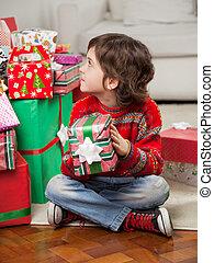 男の子, 贈り物, 床, モデル, 間, 保有物, クリスマス