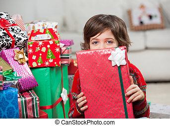 男の子, 贈り物, 顔, 保有物, 前部, クリスマス