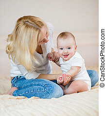 男の子, 赤ん坊, 母親遊び
