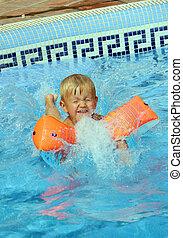 男の子, 跳躍, プール