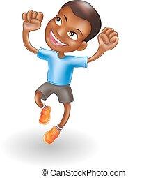 男の子, 跳躍, 若い, 喜び