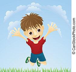 男の子, 跳躍, 若い, 幸せ