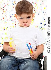 男の子, 車椅子, 子供, ペンキ