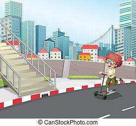 男の子, 通り, skateboarding