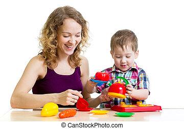 男の子, 遊び, お母さん, 一緒に, 子供