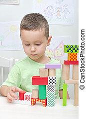 男の子, 遊び, ∥で∥, ブロック, 中に, 幼稚園