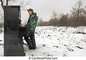 男の子, 遊び, 屋外で, ピアノ