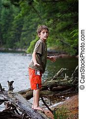 男の子, 遊び, 湖, 若い