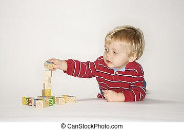 男の子, 遊び, blocks.