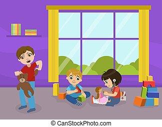 男の子, 遊戯場, bully, 壊れる, イラスト, 子供, おもちゃ, ひどく, ベクトル, 幼稚園, 行動, おもちゃ, 攻撃的である, 遊び