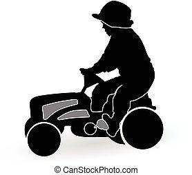 男の子, 運転, トラクター