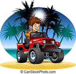 男の子, 運転, 自動車, ベクトル, 4x4, 浜, 漫画