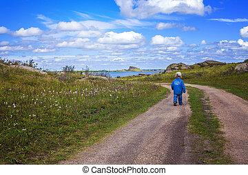 男の子, 道, 国, 歩くこと
