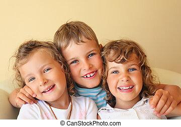 男の子, 部屋, 女の子, 3, 一緒に, 2, 笑い, かなり, 子供, 保温カバー