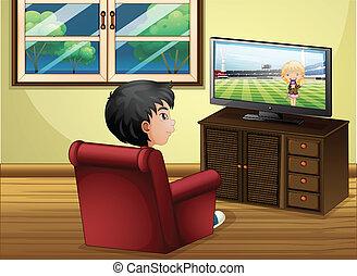 男の子, 部屋, 暮らし, tv の 監視, 若い