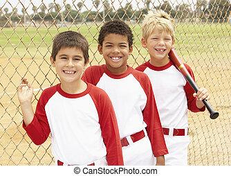 男の子, 野球, 若い, チーム