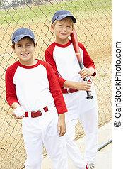 男の子, 野球, 若い, 遊び
