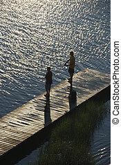男の子, 釣り, 上に, dock.