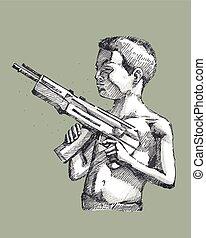 男の子, 銃