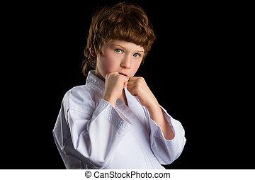 男の子, 隔離された, 空手, 着物, 黒い背景, 白