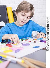 男の子, 集中される, 芸術, 道具