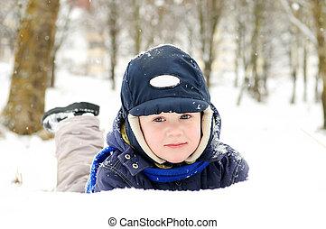 男の子, 雪が多い, 冬, 屋外で