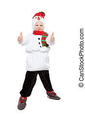 男の子, 雪だるま, かなり, 衣装, わずかしか