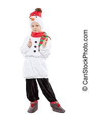 男の子, 雪だるま, かわいい, 衣装, わずかしか