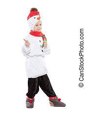 男の子, 雪だるま, すてきである, costum, わずかしか