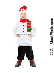 男の子, 雪だるま, ハンサム, 衣装, わずかしか