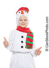 男の子, 雪だるま, 幸せ, 衣装, わずかしか