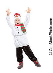 男の子, 雪だるま, 衣装, おびえさせている, わずかしか