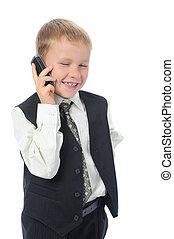 男の子, 電話。, 話し