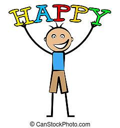 男の子, 青年, 楽しみ, 幸せ, 幸福, ショー