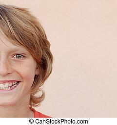 男の子, 顔, 微笑, 幸せ, 子供, ∥あるいは∥, 子供