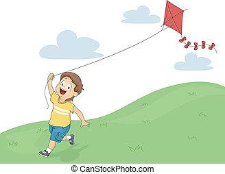 男の子, 飛んでいる凧, 子供