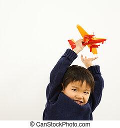 男の子, 飛行機, 遊び