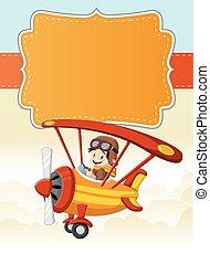 男の子, 飛行機, 飛行, 漫画, パイロット