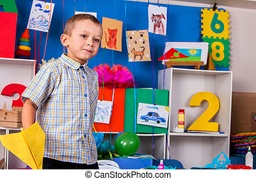 男の子, 飛行, 子供, kindergarten., 遊び, 夢, 幸せ