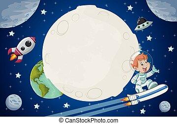 男の子, 飛行, 宇宙飛行士, 漫画, スペース