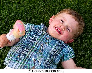 男の子, 食べること, アイスクリーム