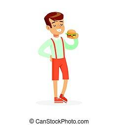 男の子, 食べること, カラフルである, ハンバーガー, 特徴, イラスト, ベクトル, 微笑