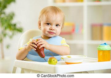 男の子, 食べること, 子供, 成果, 赤ん坊, 子供