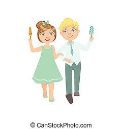 男の子, 食べること, 広告, 日付, アイスクリーム, 女の子