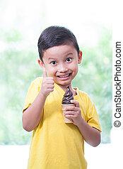 男の子, 食べること, ice-cream., チョコレート